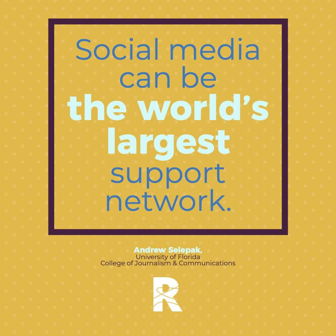 "Image with text that says ""Social media can be the world's largest support network."" Rewire PBS Living Suicide"