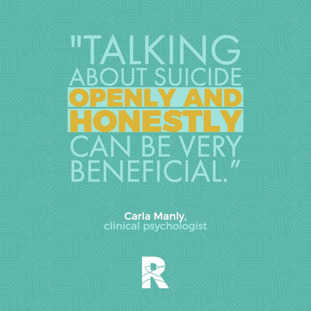 "Image with text that says, ""Talking about suicide openly and honestly can be very beneficial."" Rewire PBS Living Suicide"