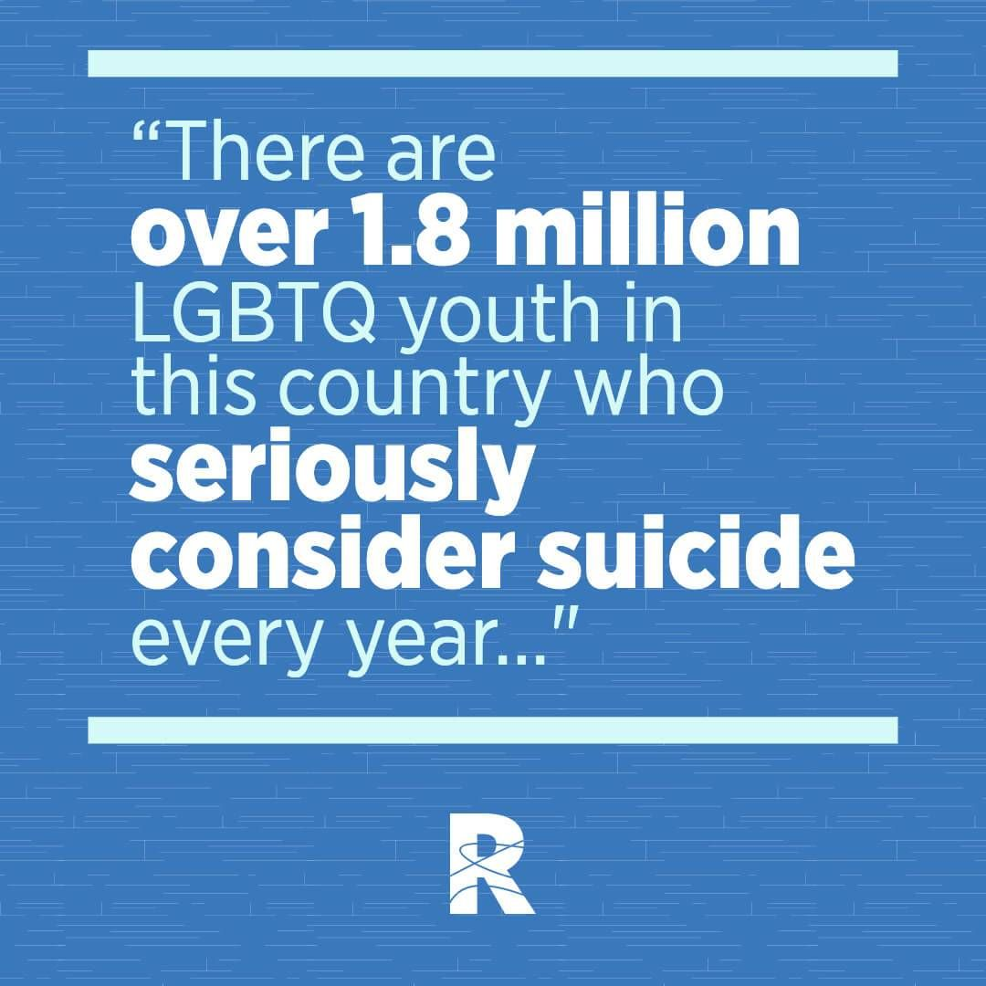 "Image with text that says, ""There are over 1.8 million LGBTQ youth in this country who seriously consider suicide every year..."" Rewire PBS Living Suicide"