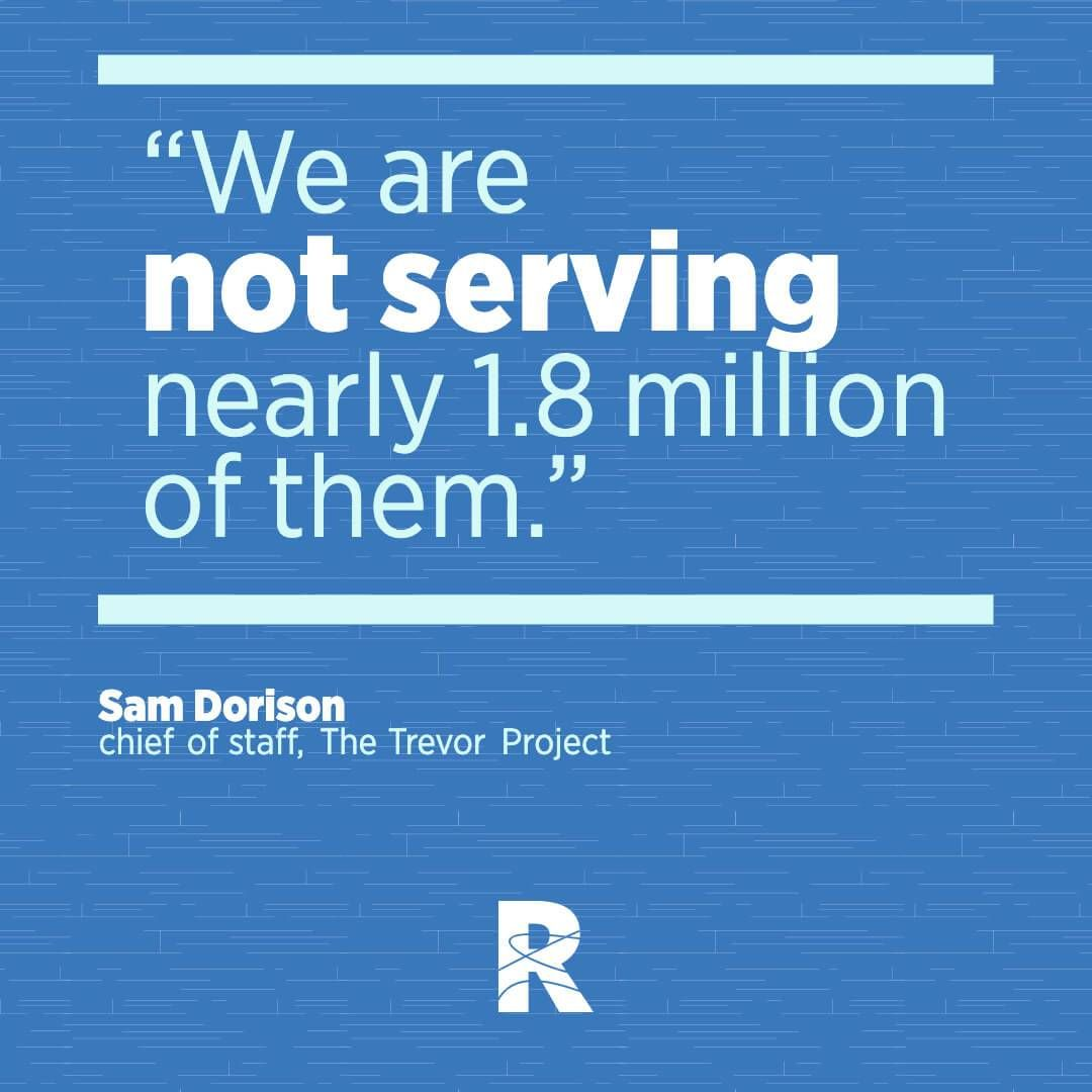 "Image with text that says, ""We are not serving nearly 1.8 million of them."" Rewire PBS Living Suicide."