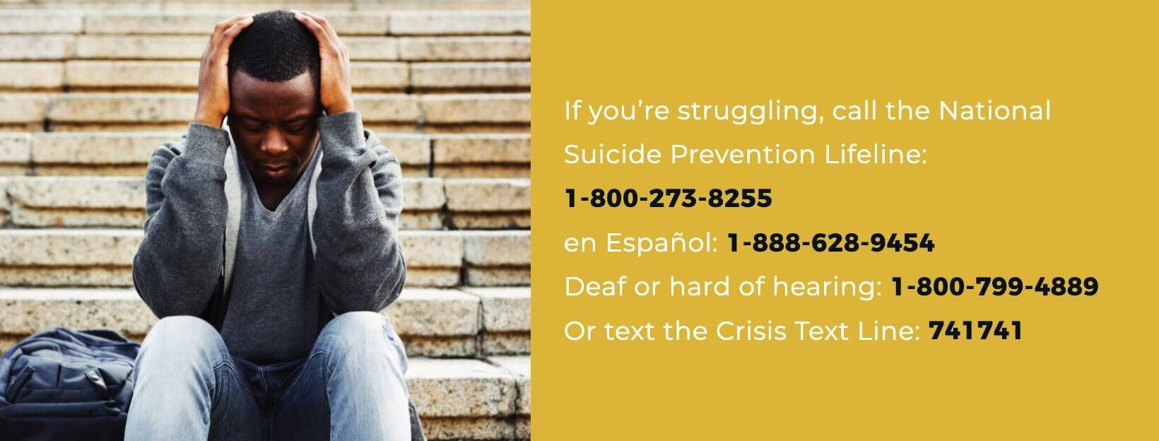 Image with text displaying the National Suicide Prevention Lifeline - 1-800-273-8255 or 1-800-799-4889 for those deaf or hard of hearing. Rewire PBS Living Suicide