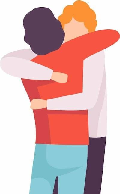 Illustration of two men hugging. Rewire PBS Love Caregivers