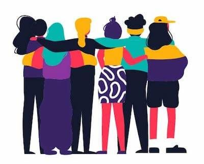 Colorful illustration of a group of friends standing with arms linked. Rewire PBS Living Suicide