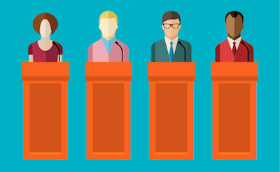 illustration of 4 speakers at podiums. Rewire PBS Our Future Campaign Promises