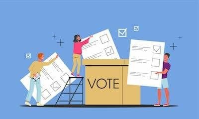 Illustration of three people casting their ballots. Rewire PBS Our Future Poll Worker