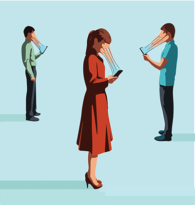 People stand looking at their phones in an addictive way. Rewire PBS Work Phone