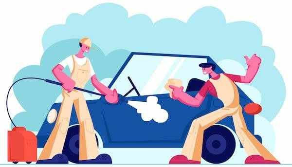 Illustration of two people washing a car. Rewire Living PBS Old car