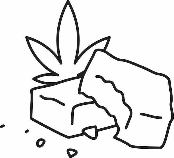 A black and white line-drawing illustration of weed brownies. Rewire PBS Our Future Marijuana