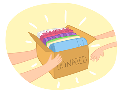 hands exchange a box of donated secondhand clothing. REWIRE PBS Our Future Clothing