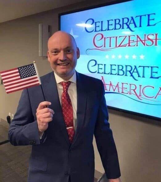Trevor Eade at his naturalization ceremony in Minneapolis in April 2019. REWIRE PBS Our Future Voter