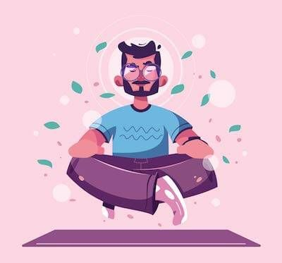 An illustration of a person in glasses meditating. Rewire PBS Living Mantras