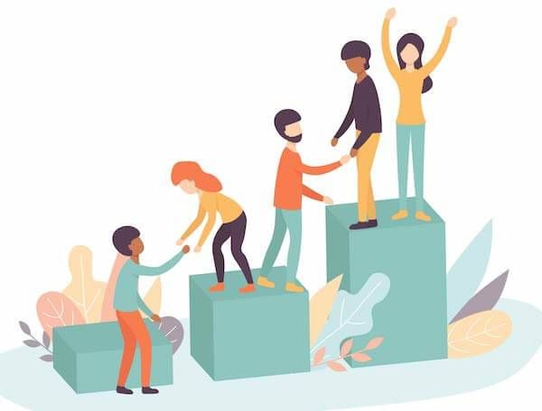 An illustration of people helping people. Rewire PBS Work Goal Buddy