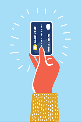 A hand holds a credit card. PBS REWIRE Work Tackling Debt