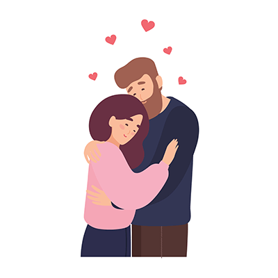 Illustration of a couple embracing. Rewire PBS Love Manic Pixie Dream
