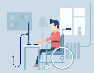 Illustration of someone in a wheelchair sitting in front of a computer on a desk. Rewire PBS Our Future College Student