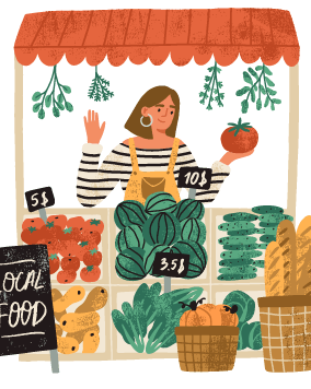 Illustration of a woman working a food stand with fresh produce. Rewire PBS Living Farmers Markets