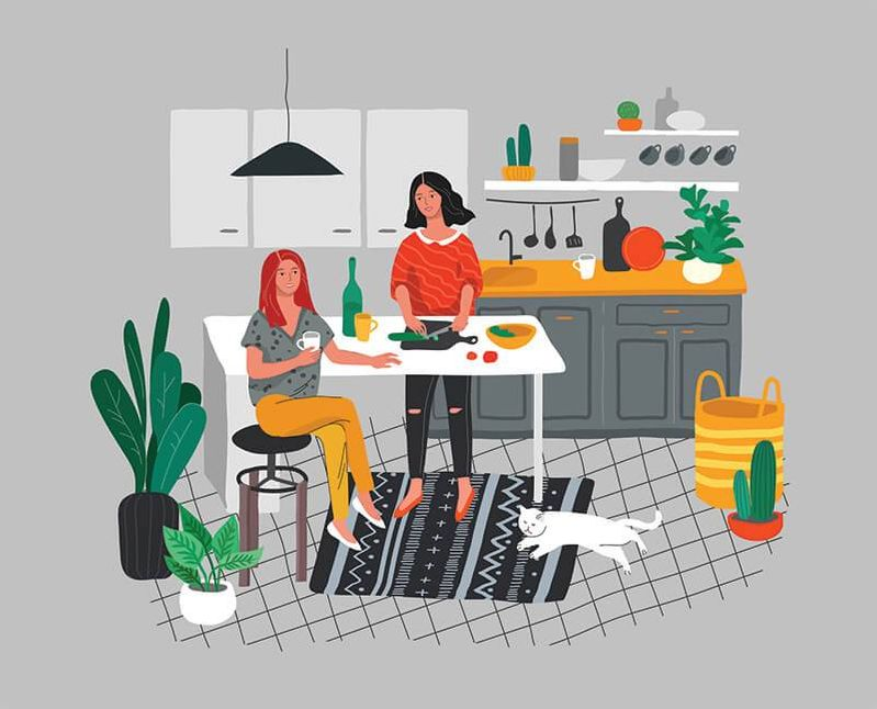 Illustration of two women and a cat in a kitchen. Rewire PBS Living Roommates