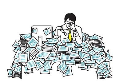 A man is stressed at work. REWIRE PBS Work short-staffed