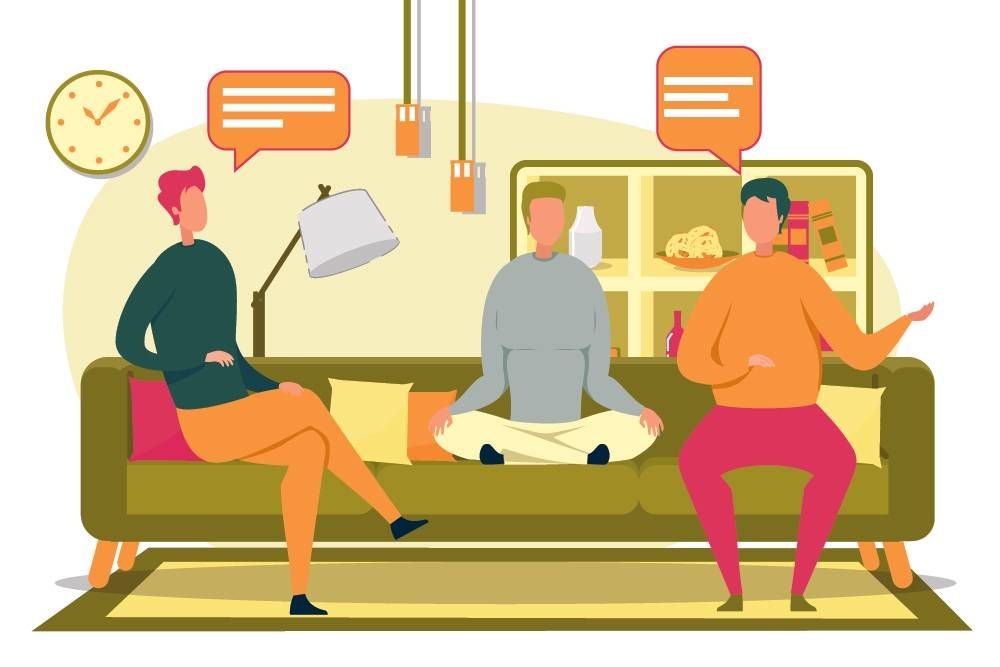 Illustration of 3 people sitting on a couch, talking. Rewire PBS Health Conflict