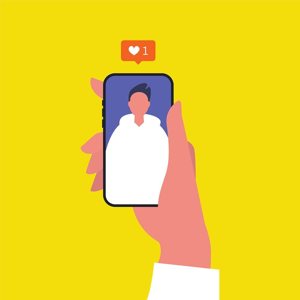 Illustration of hand holding a phone displaying a person's photo. Rewire PBS Love Friend