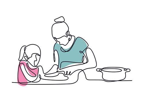 Continuous line drawing of mother and daughter cooking a food. Rewire PBS Living Traditions