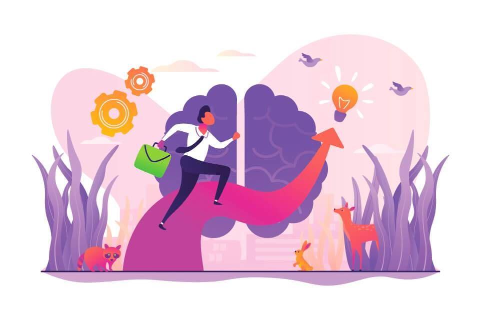 Illustration of a walk through nature inspiring creative thinking. Rewire PBS Living Creative