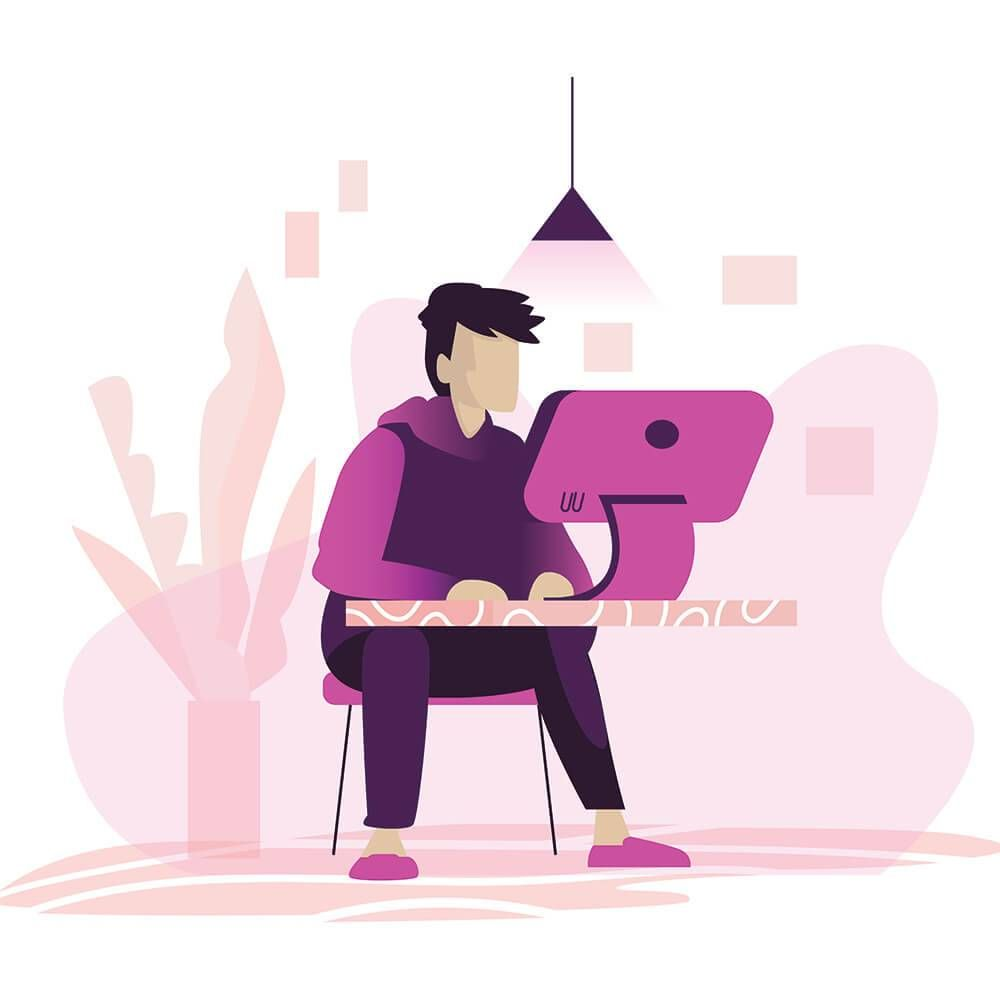 Illustration of a man sitting on a chair behind the desk, working on a computer. Rewire PBS Work Debt anxiety
