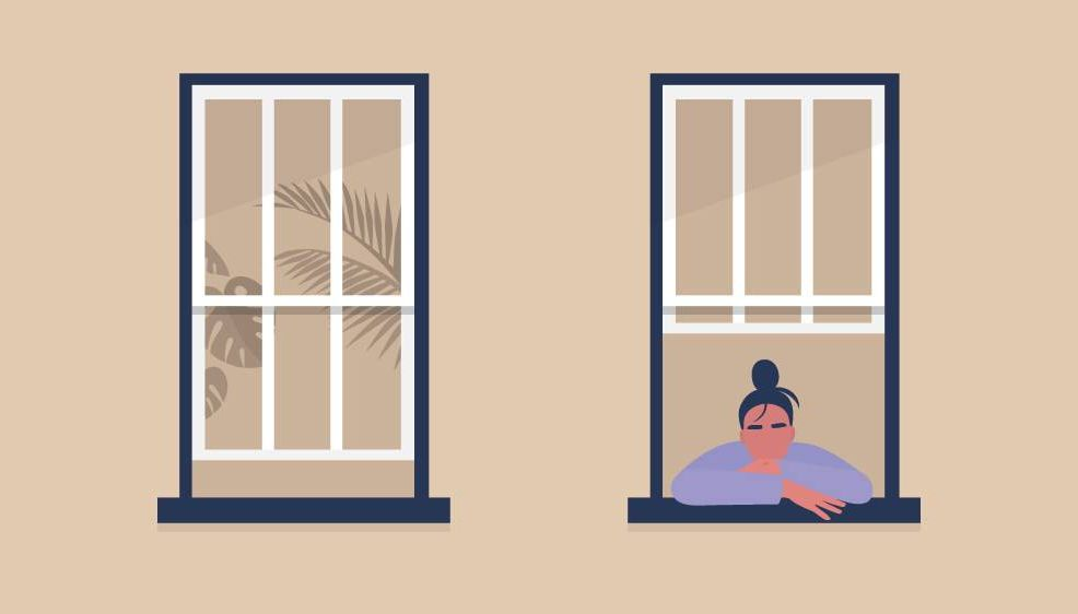 Illustration of woman staring out of a window. Rewire Love PBS Coronavirus