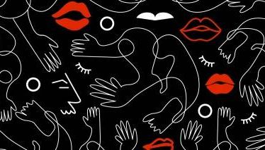 A black an white graphic of hands and eyes with red lips.