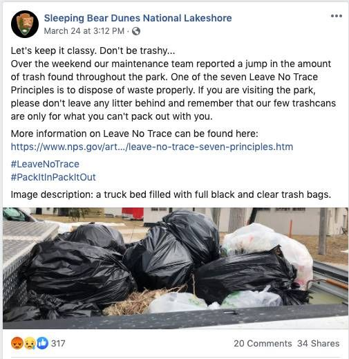 Screenshot of a Facebook post from Sleeping Bear Dunes National Lakeshore about a jump in the trash left throughout the park. Rewire PBS Living Our Future Trash