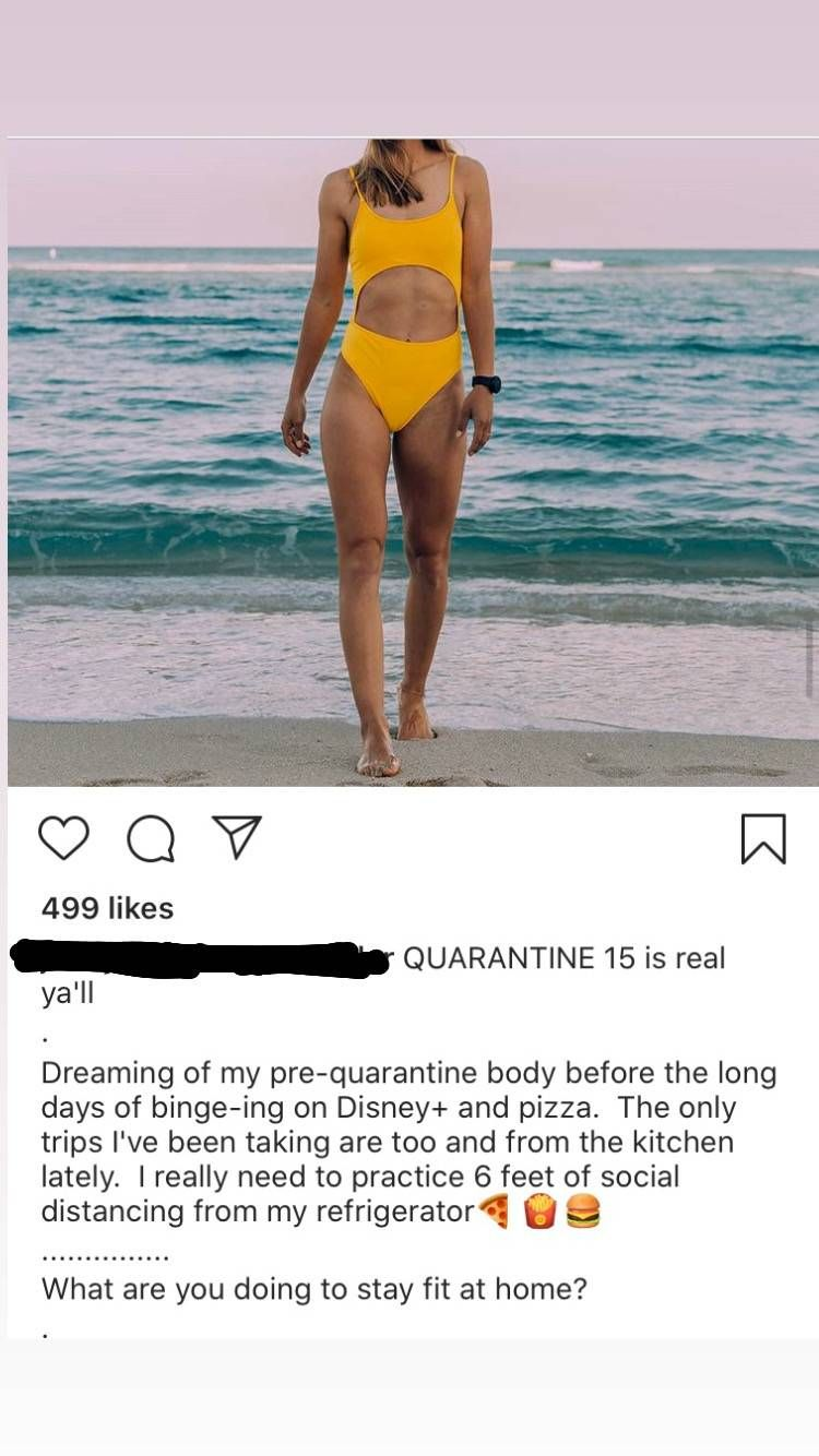 An instagram post featuring a woman on a beach with a caption about quarantine weight loss. REWIRE PBS Health COIVD 15