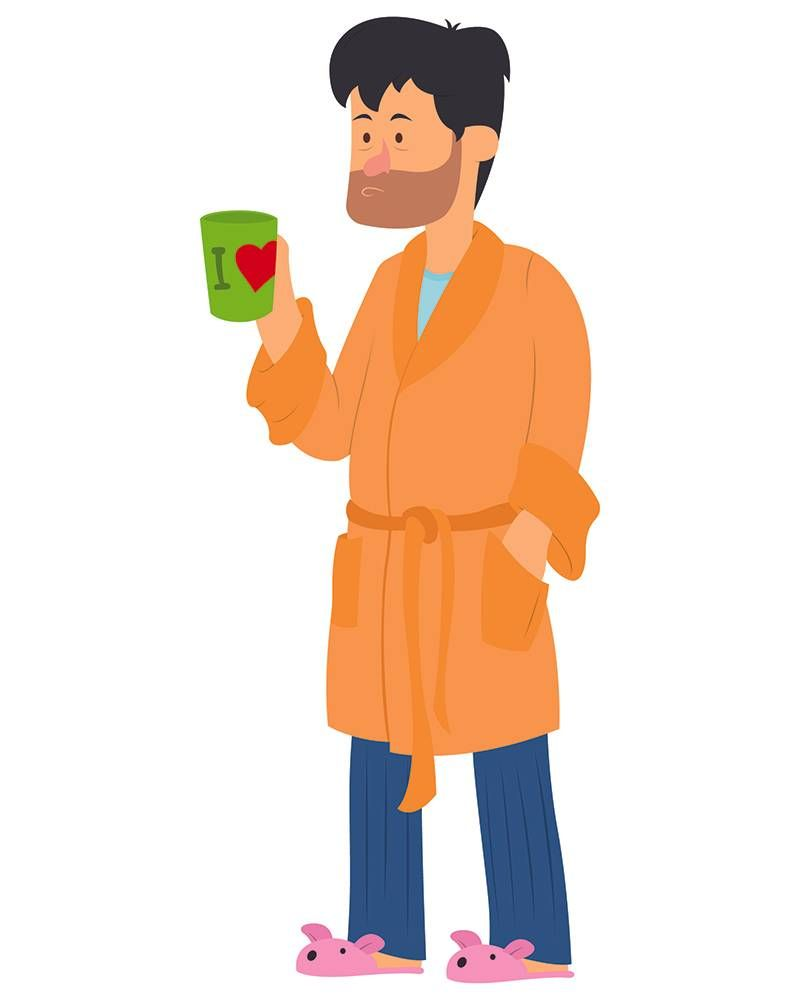 Illustration of a tired, disheveled man wearing a bathrobe and drinking coffee. Rewire PBS Health Mental Health