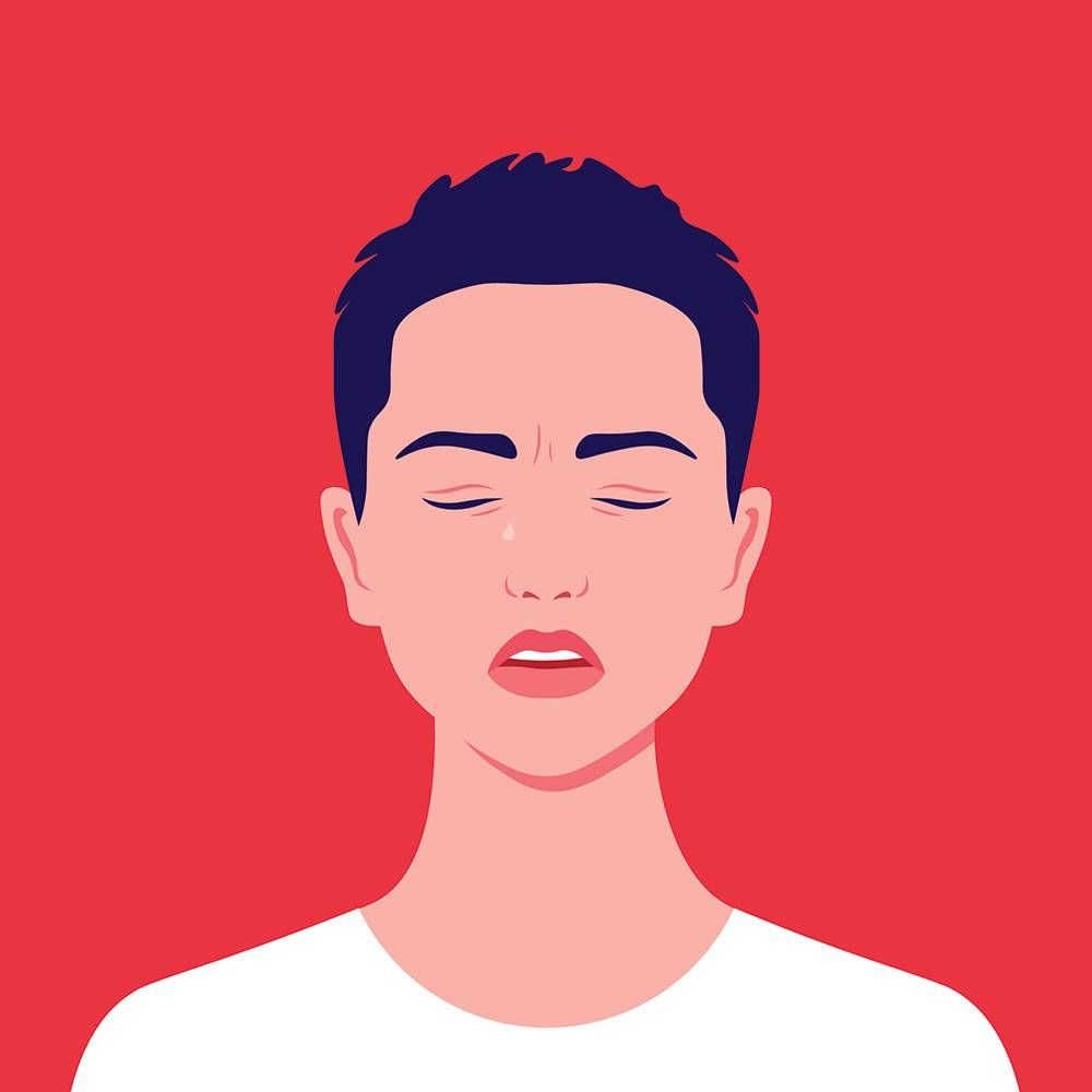 Illustration of a young woman with short, cropped hair, eyes closed and crying. Rewire PBS Love Domestic Abuse