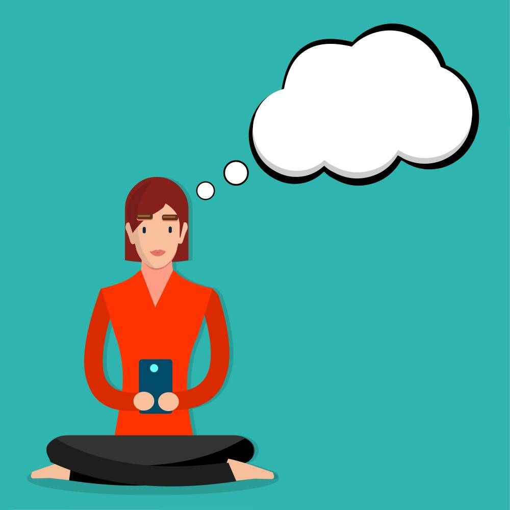 Illustration of a woman looking at a phone with an empty thought bubble.
