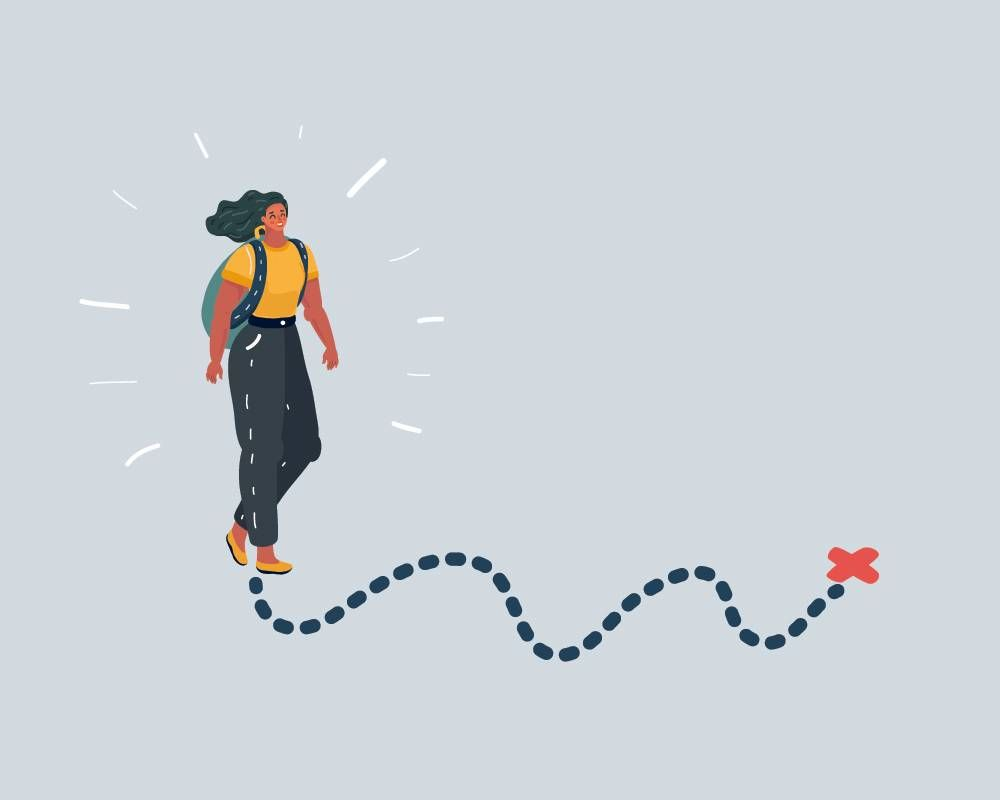 Illustration of a woman walking on a dotted path towards a red x. Rewire PBS Living Purpose