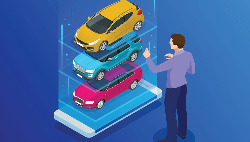 An illustration of a man browsing virtual cars that appear out of his phone. Rewire PBS Money Virtual car buying