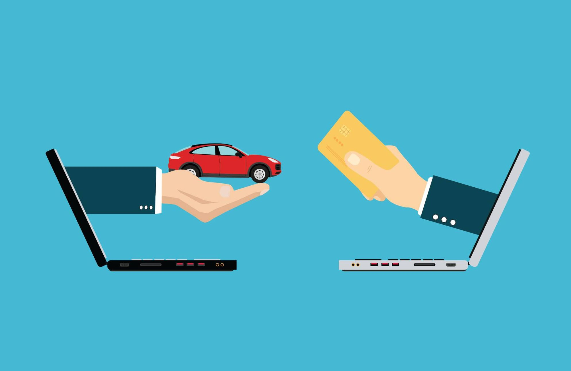 Illustration of a hand coming out of a laptop holding a car and a hand coming out of a second laptop, holding a credit card. Rewire PBS Money Virtual Car Buying