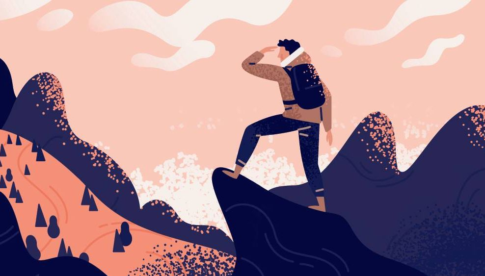 Illustration of a man with backpack, traveller or explorer standing on top of mountain or cliff and looking on valley. Rewire PBS Work Career Change Unhappy at Work