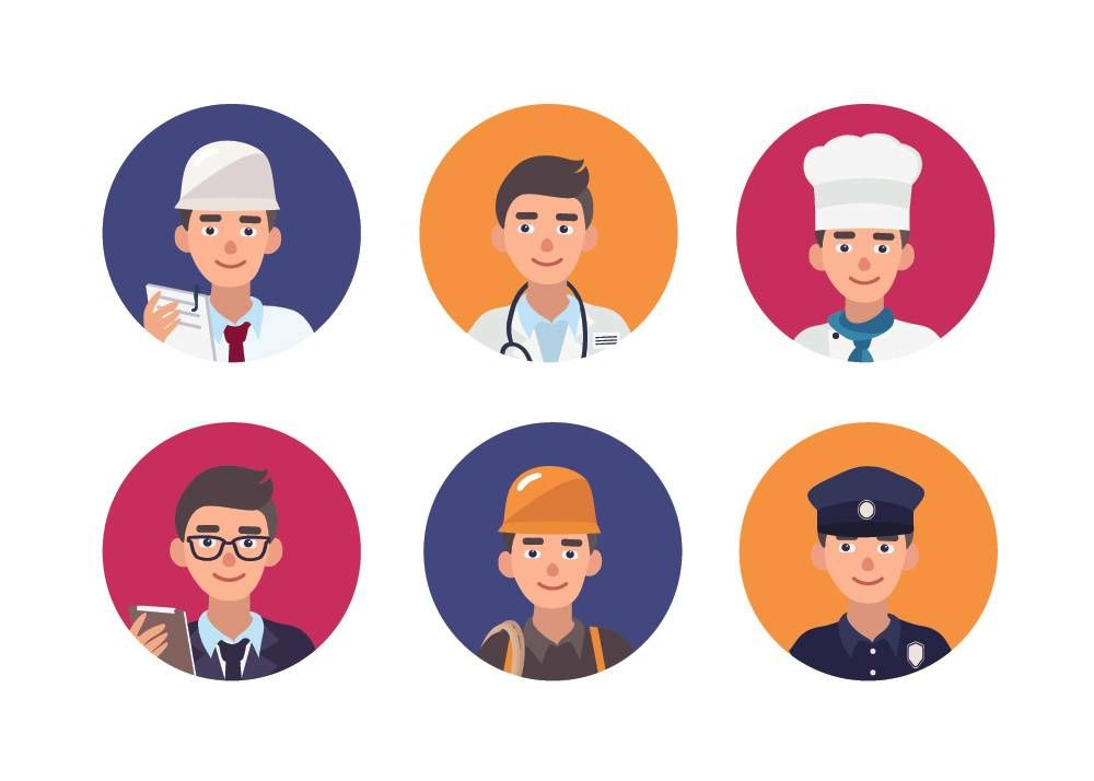 Set of round, illustrated portraits of happy people of various professions. Rewire PBS Work Unhappy at work career change