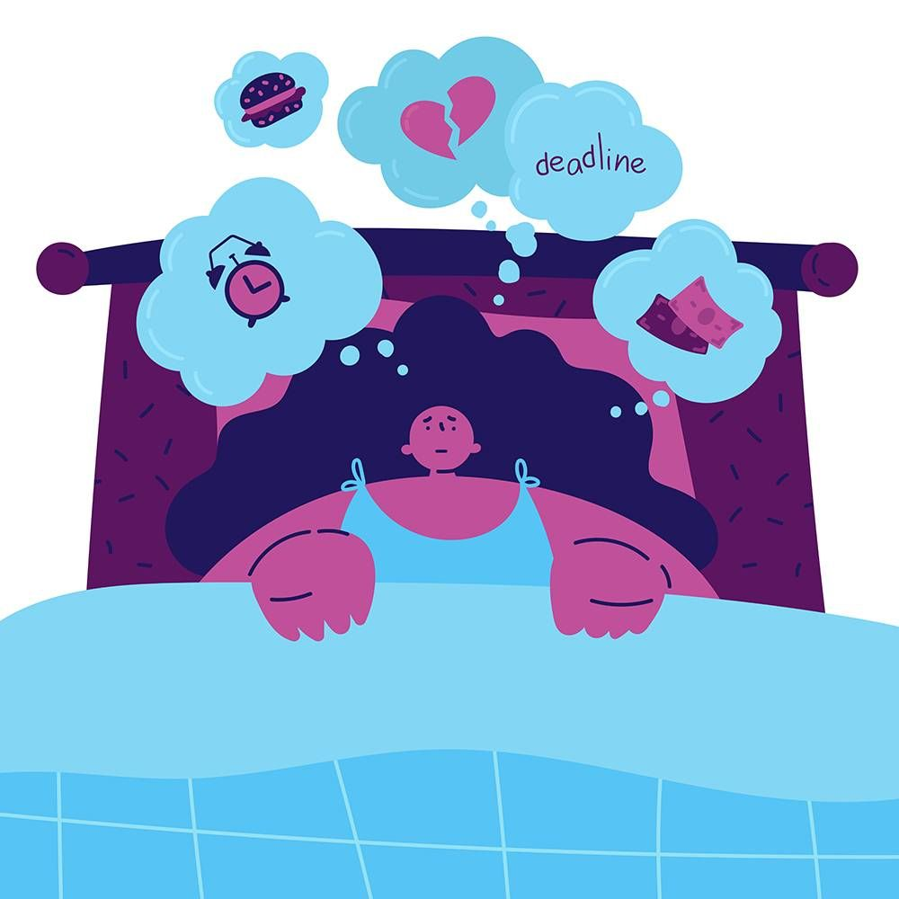 woman can't sleep from stress. REWIRE PBS health mental health apps