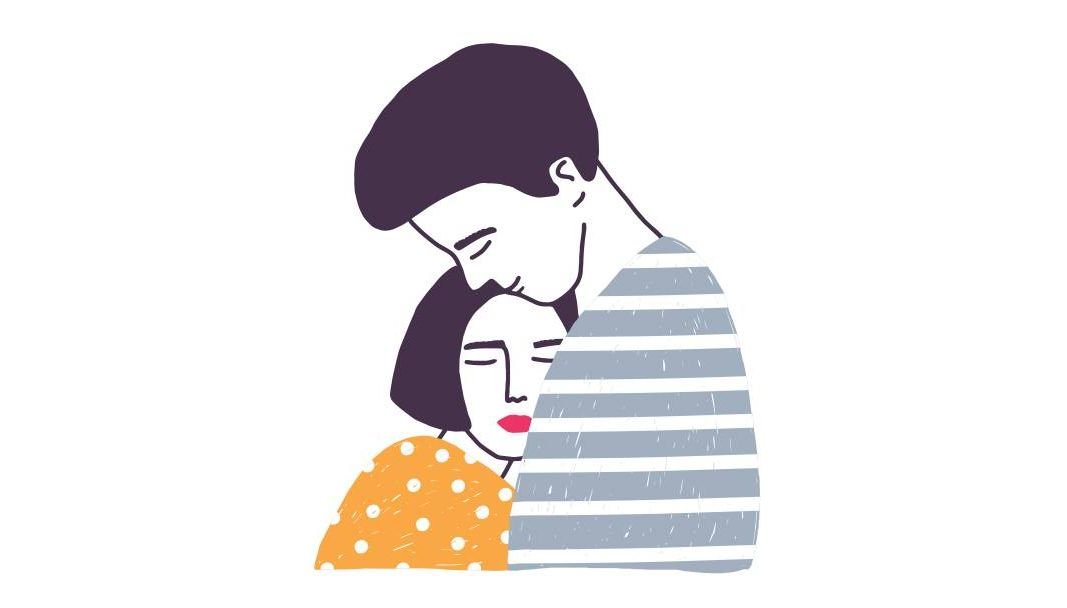 Illustration of a man and a woman embracing. Rewire PBS Health think positive