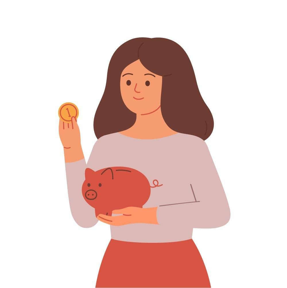woman with piggy bank saving money. REWIRE PBS money unexpected expense