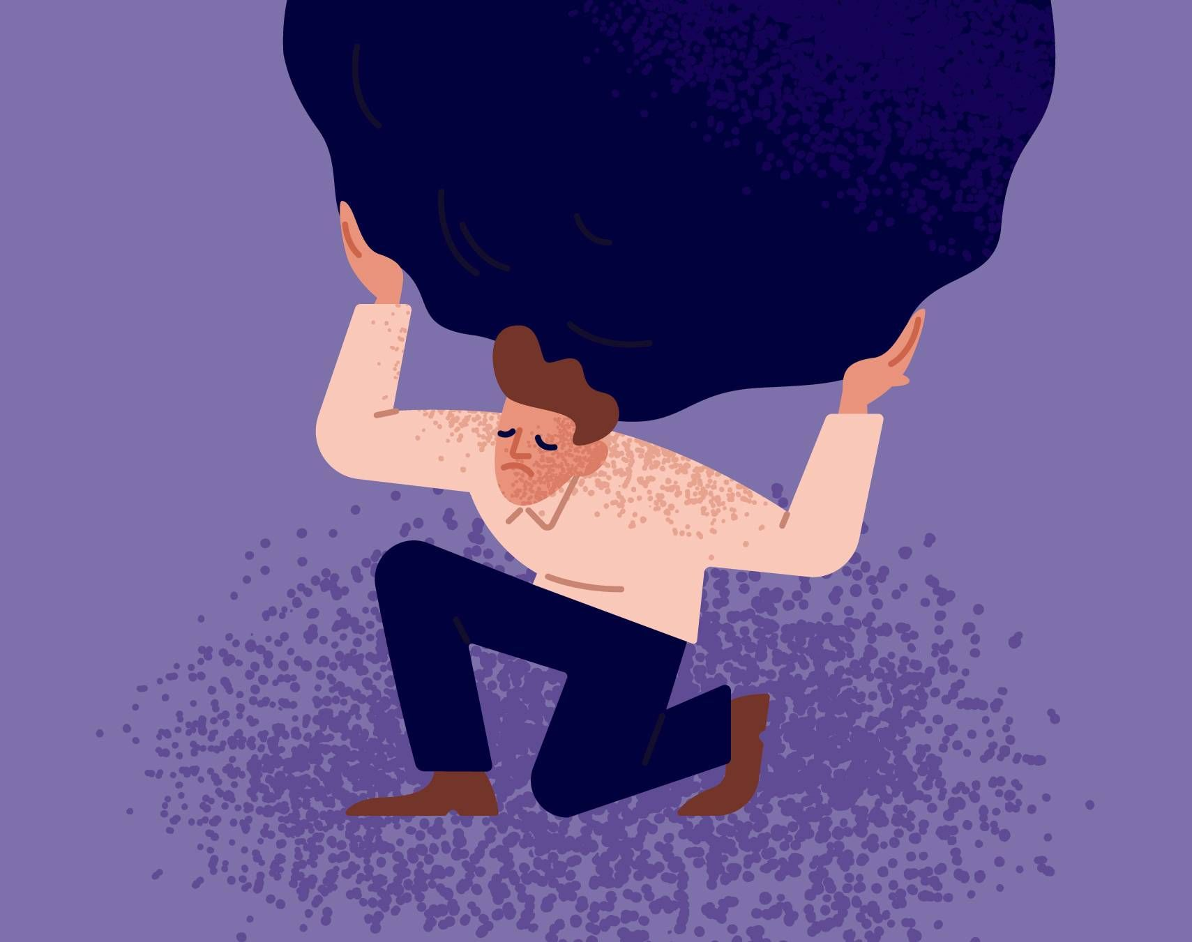 Illustration of an unhappy man carrying giant heavy boulder or stone. Rewire PBS Health Vicarious Trauma