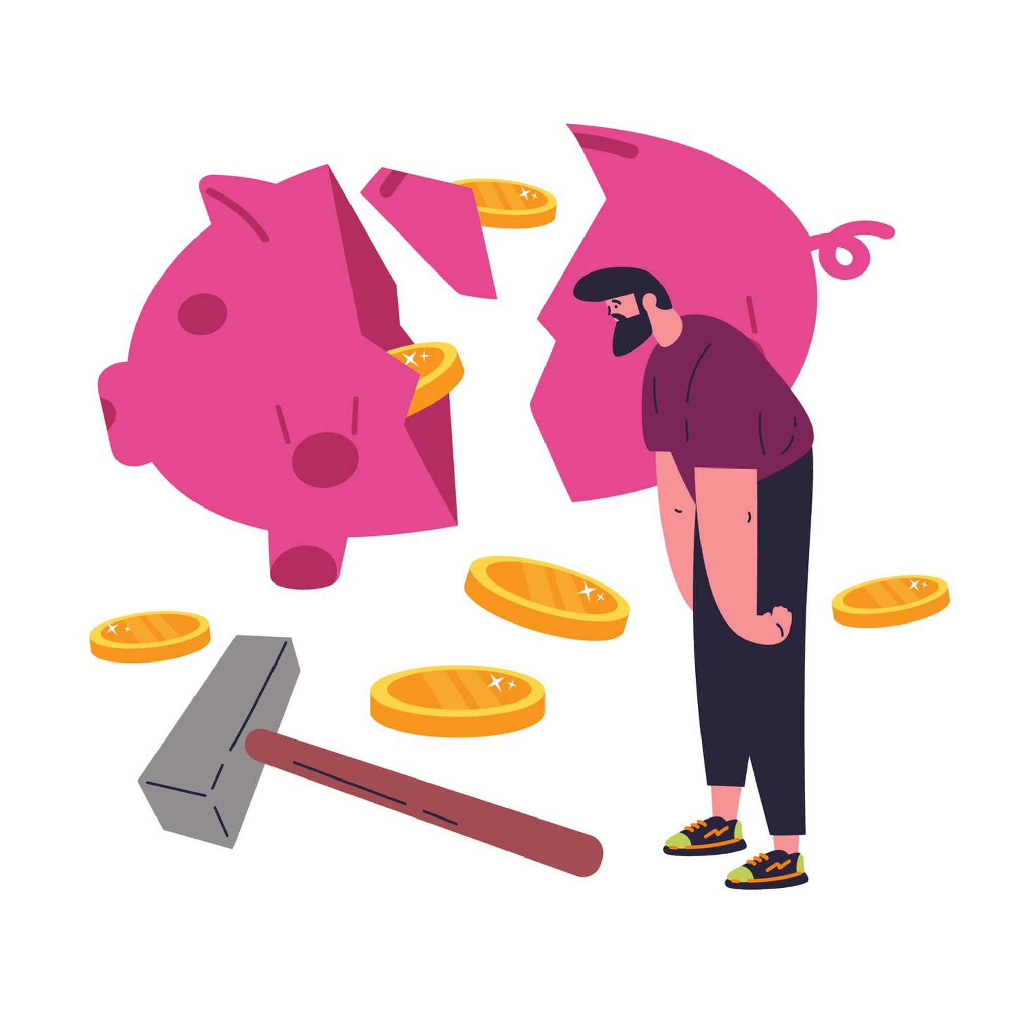 Illustration of a man who smashed a savings piggy bank with a hammer. Rewire PBS Money