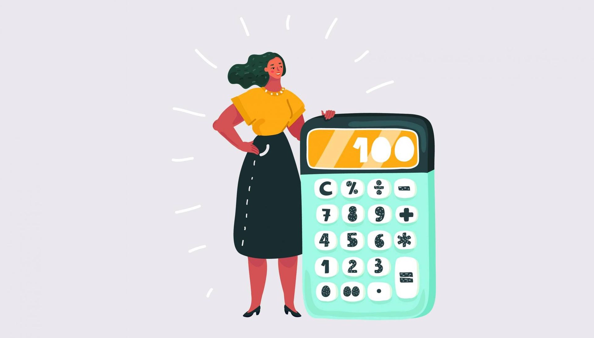 Illustration of a woman standing next to a calculator. Rewire PBS Money Stimulus