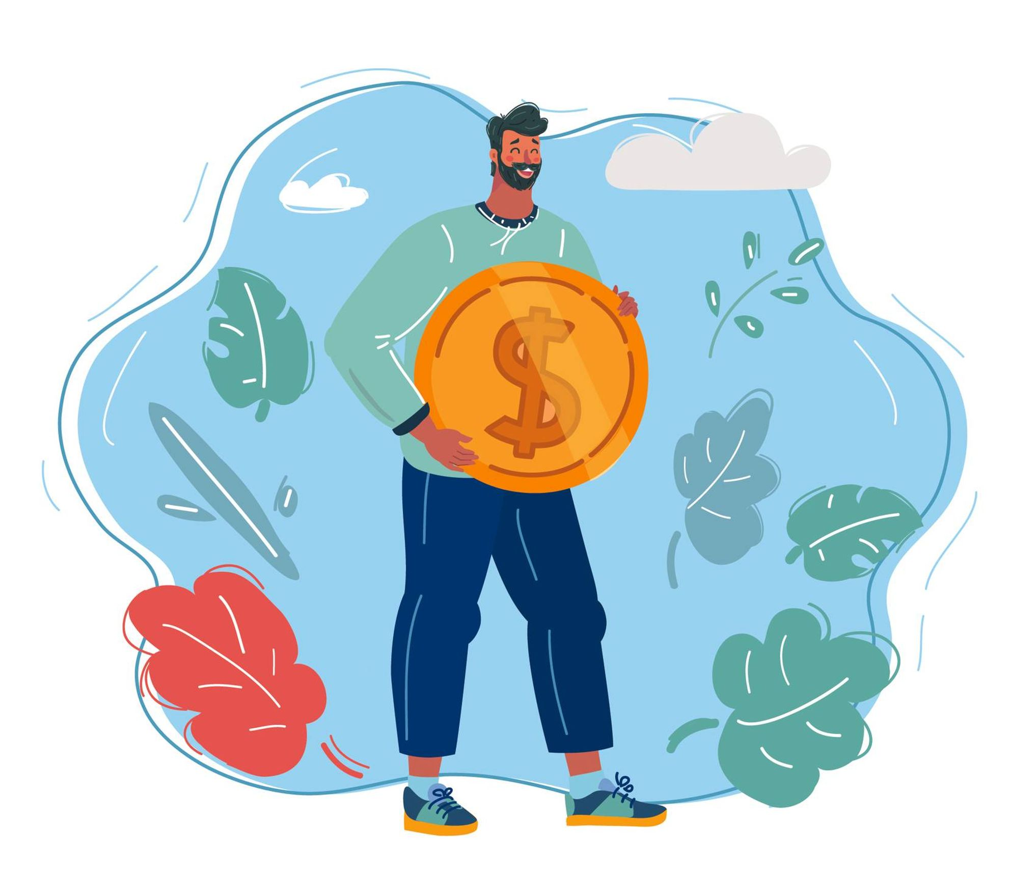 Illustration of a young man holding a coin. Rewire PBS Money Stimulus