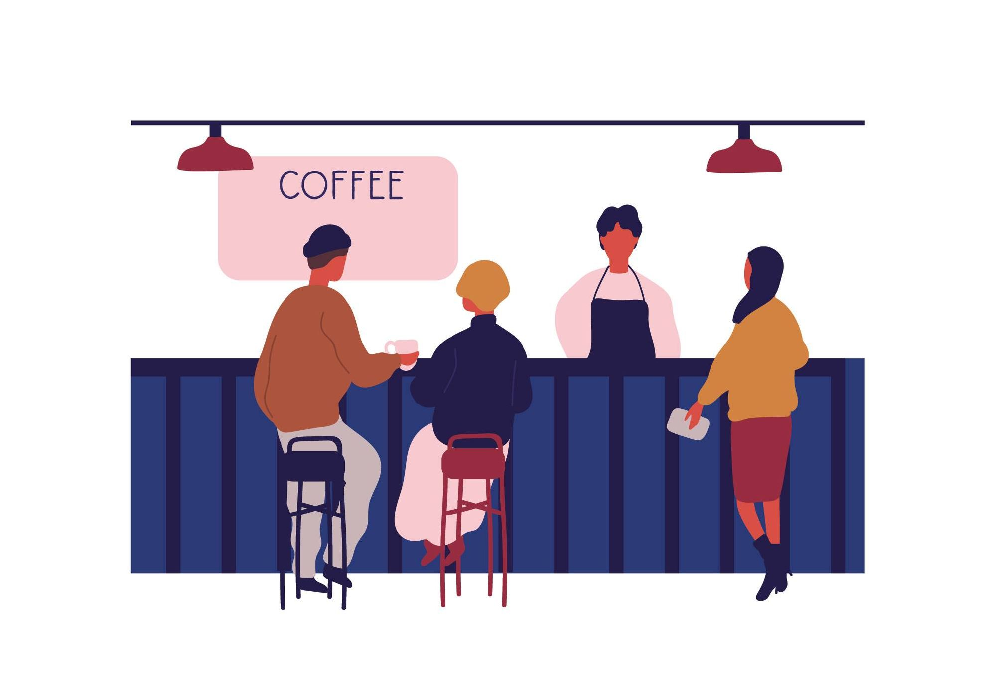 Illustration of customers sitting on bar counter at coffee shop. Rewire PBS Work Skills