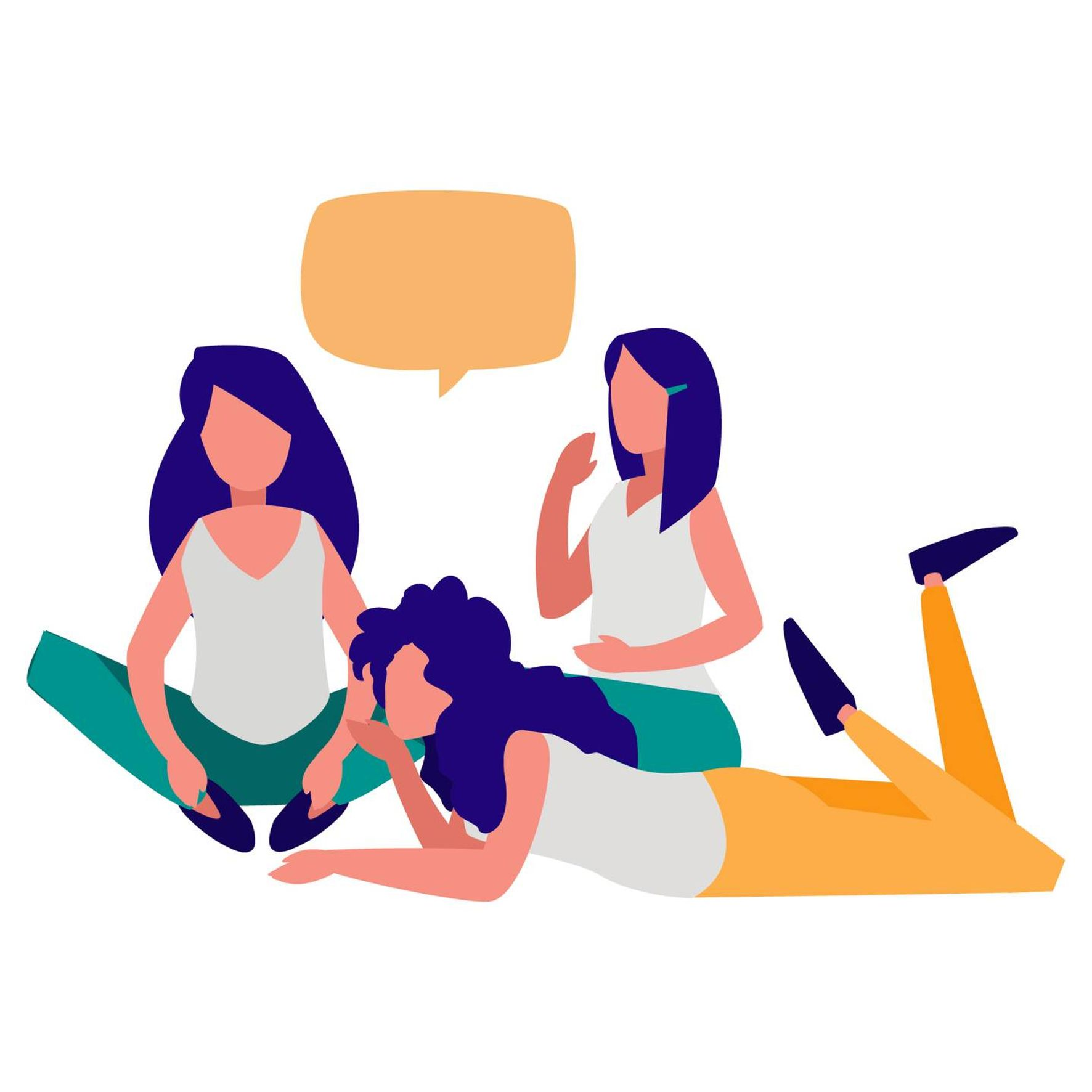Illustration of 3 women sitting on the floor and talking. Rewire PBS Health Diet Culture