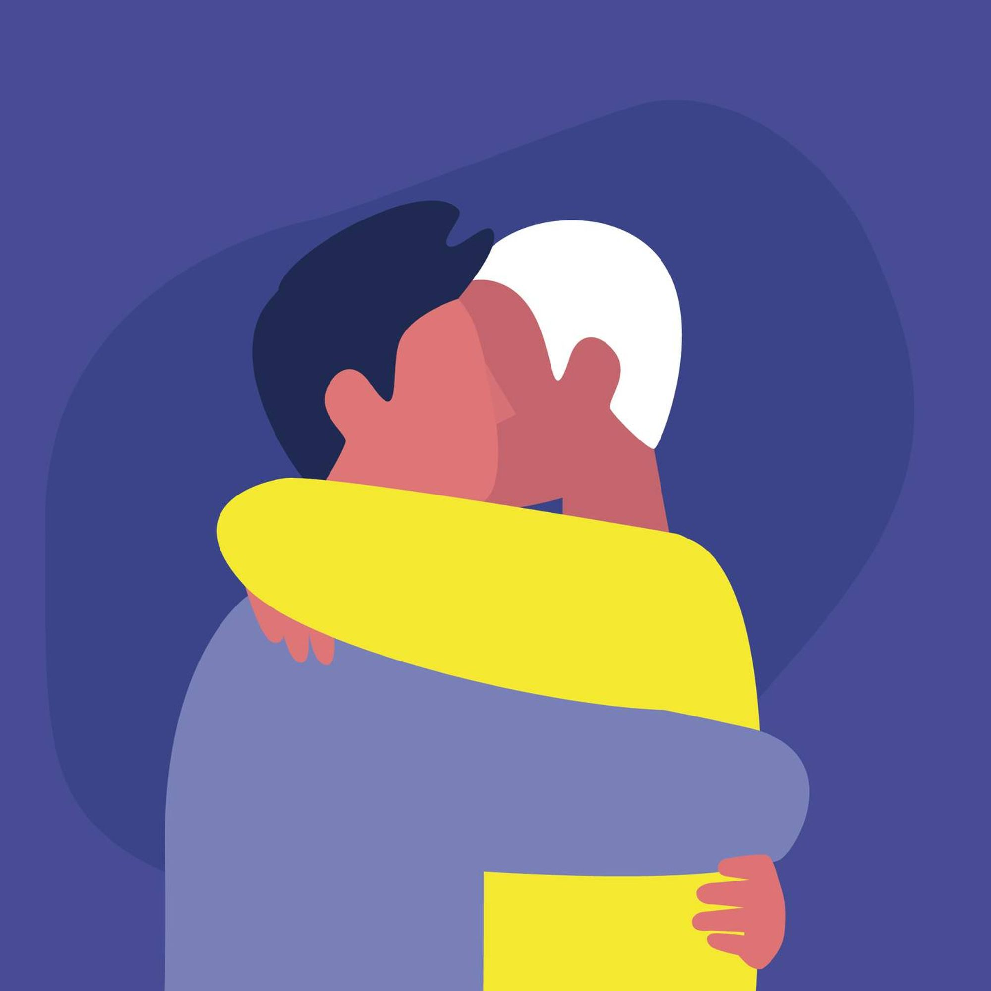 Illustration of a couple of young male adults hugging each other. Rewire PBS Love Non-monogamous