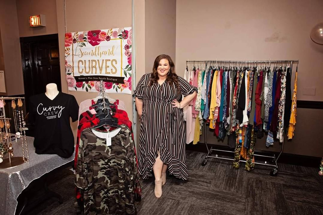 Photo of Rachel Cadie in her resale clothing boutique. Rewire PBS Plus Size Resale